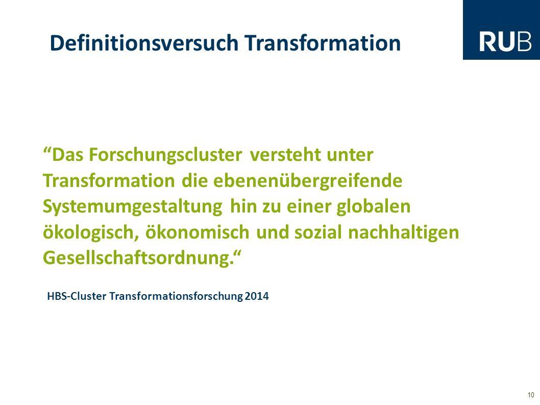10 Definitionsversuch Transformation Das Forschungscluster versteht unter Transformation die ebenenübergreifende Systemumgestaltung hin zu einer globalen ökologisch, ökonomisch und sozial nachhaltigen Gesellschaftsordnung. HBS-Cluster Transformationsforschung 2014