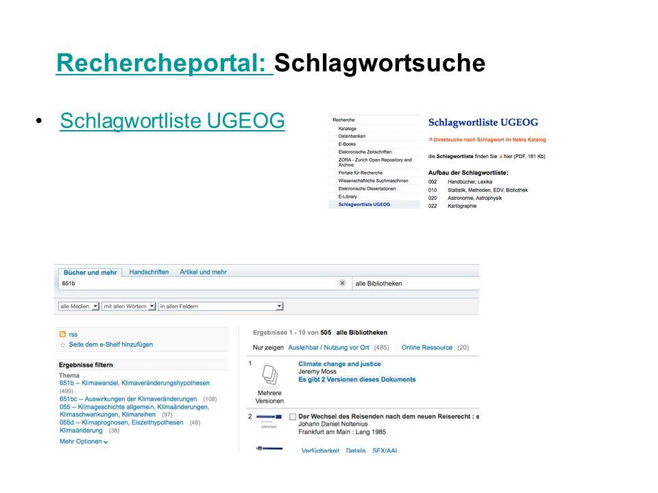 Rechercheportal: Rechercheportal: Schlagwortsuche Schlagwortliste UGEOG