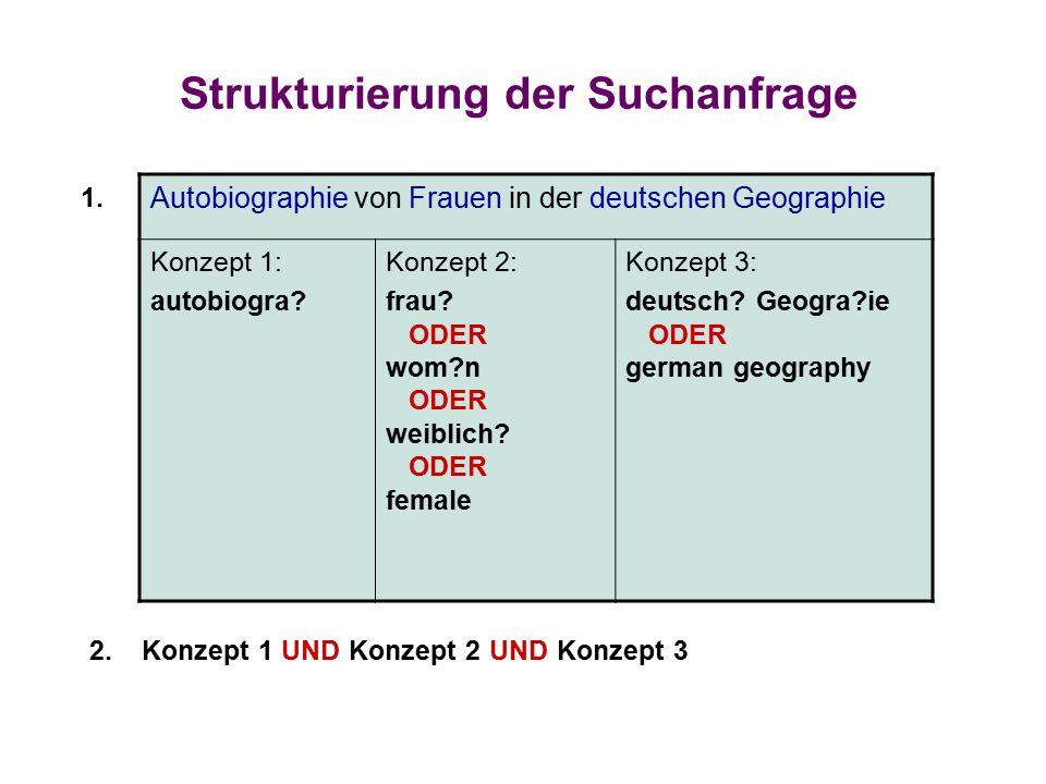 Strukturierung der Suchanfrage Autobiographie von Frauen in der deutschen Geographie Konzept 1: autobiogra.