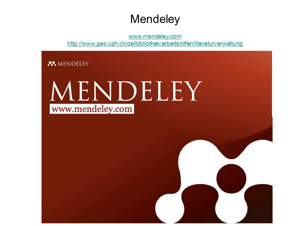 Mendeley 26.9.2011 Mendeley www.mendeley.com http://www.geo.uzh.ch/de/bibliothek/arbeitshilfen/literaturverwaltung