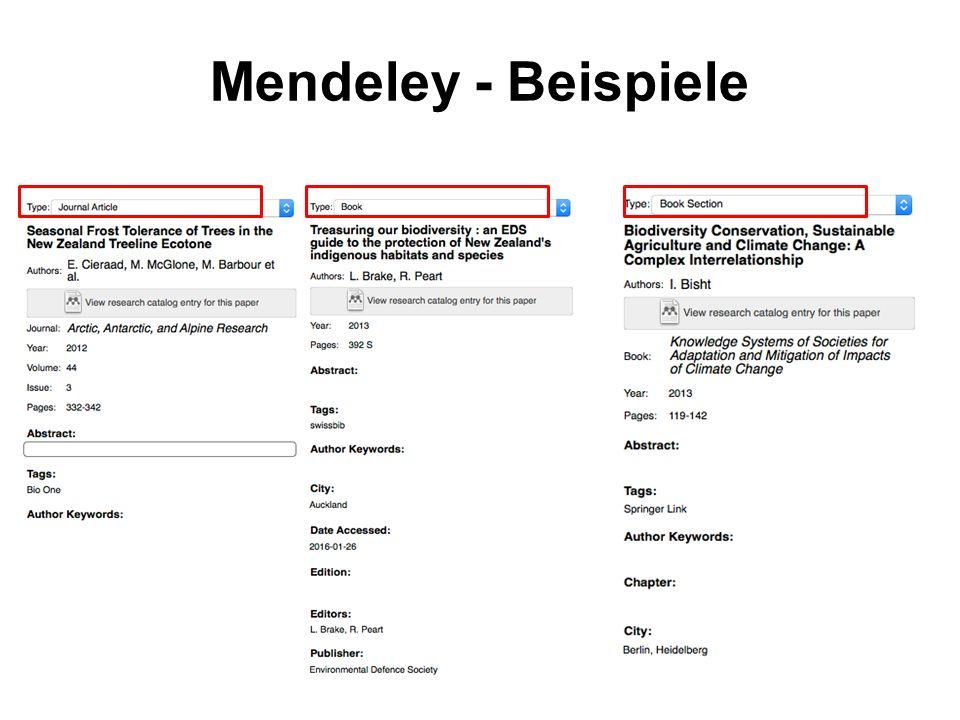 Mendeley - Beispiele