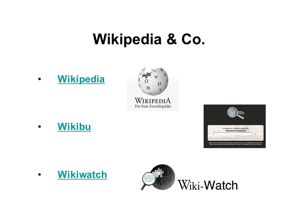 Wikipedia & Co. Wikipedia Wikibu Wikiwatch