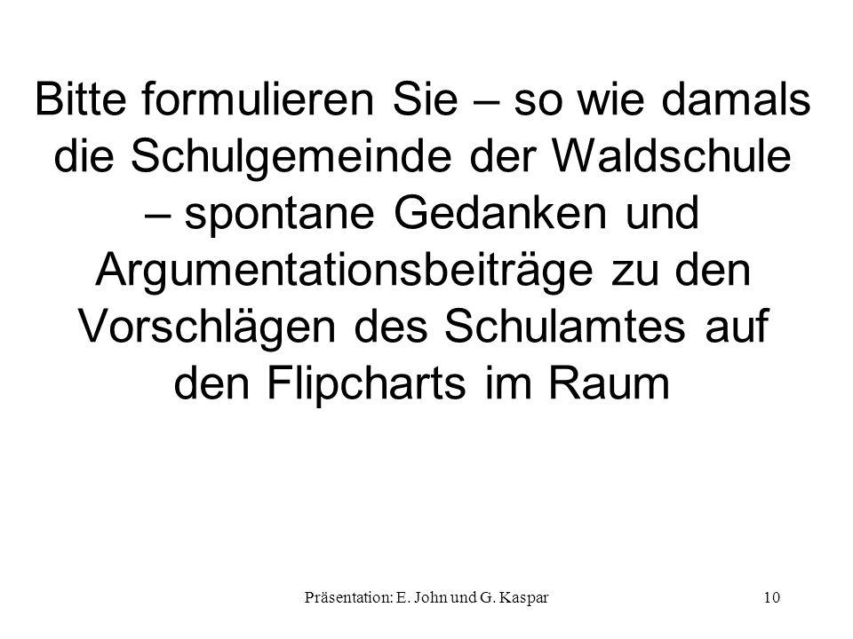 Bitte formulieren Sie – so wie damals die Schulgemeinde der Waldschule – spontane Gedanken und Argumentationsbeiträge zu den Vorschlägen des Schulamtes auf den Flipcharts im Raum Präsentation: E.