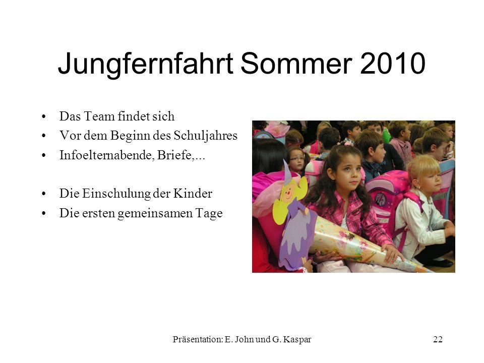 Jungfernfahrt Sommer 2010 Das Team findet sich Vor dem Beginn des Schuljahres Infoelternabende, Briefe,...