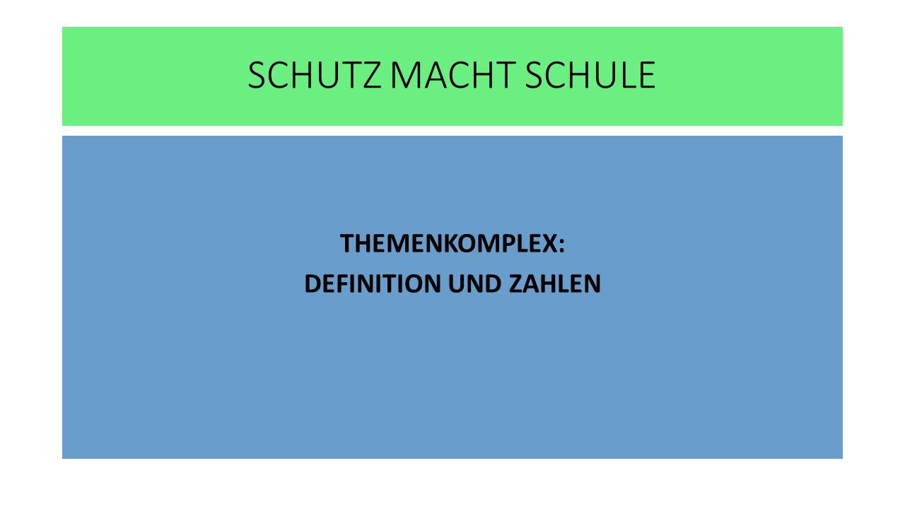 SCHUTZ MACHT SCHULE THEMENKOMPLEX: DEFINITION UND ZAHLEN