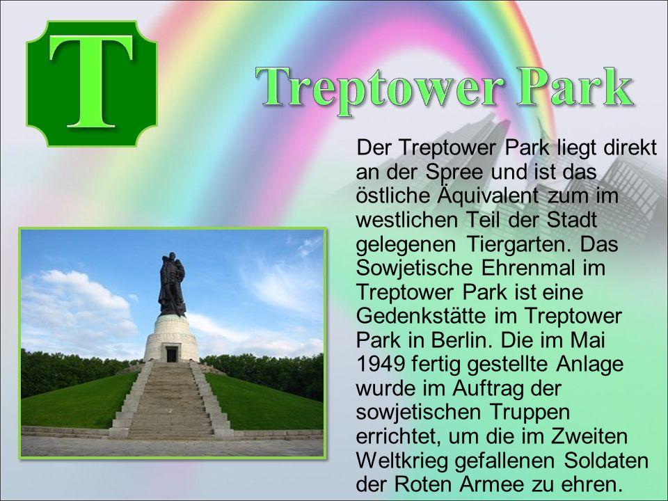 Der Treptower Park liegt direkt an der Spree und ist das östliche Äquivalent zum im westlichen Teil der Stadt gelegenen Tiergarten.