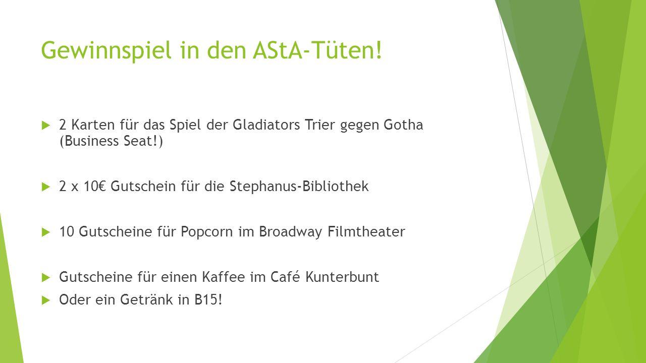 Gewinnspiel in den AStA-Tüten.