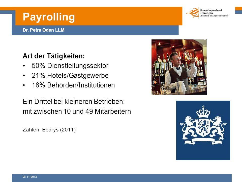 08-11-2013 Art der Tätigkeiten: 50% Dienstleitungssektor 21% Hotels/Gastgewerbe 18% Behörden/Institutionen Ein Drittel bei kleineren Betrieben: mit zwischen 10 und 49 Mitarbeitern Zahlen: Ecorys (2011) Payrolling Dr.