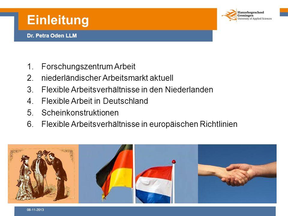 08-11-2013 1.Forschungszentrum Arbeit 2.niederländischer Arbeitsmarkt aktuell 3.Flexible Arbeitsverhältnisse in den Niederlanden 4.Flexible Arbeit in Deutschland 5.Scheinkonstruktionen 6.Flexible Arbeitsverhältnisse in europäischen Richtlinien Einleitung Dr.