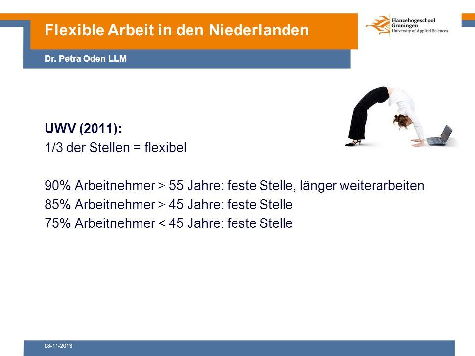 08-11-2013 UWV (2011): 1/3 der Stellen = flexibel 90% Arbeitnehmer > 55 Jahre: feste Stelle, länger weiterarbeiten 85% Arbeitnehmer > 45 Jahre: feste Stelle 75% Arbeitnehmer < 45 Jahre: feste Stelle Flexible Arbeit in den Niederlanden Dr.