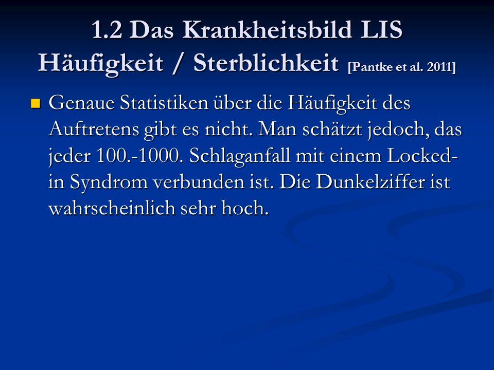 1.2 Das Krankheitsbild LIS Häufigkeit / Sterblichkeit [Pantke et al.