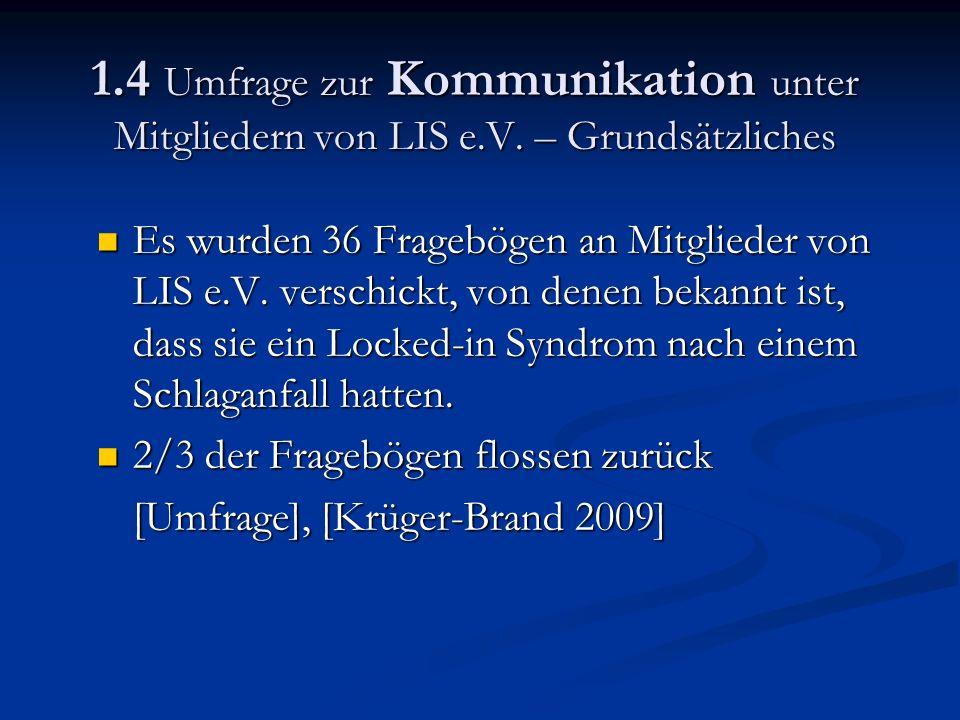 1.4 Umfrage zur Kommunikation unter Mitgliedern von LIS e.V.