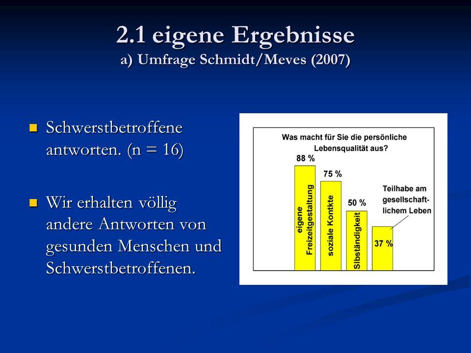 2.1 eigene Ergebnisse a) Umfrage Schmidt/Meves (2007) Schwerstbetroffene antworten.