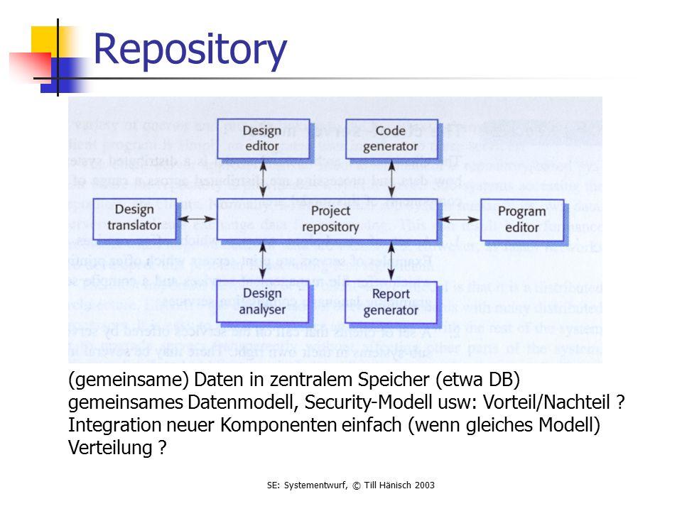 SE: Systementwurf, © Till Hänisch 2003 Repository (gemeinsame) Daten in zentralem Speicher (etwa DB) gemeinsames Datenmodell, Security-Modell usw: Vorteil/Nachteil .