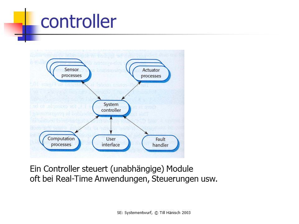 SE: Systementwurf, © Till Hänisch 2003 controller Ein Controller steuert (unabhängige) Module oft bei Real-Time Anwendungen, Steuerungen usw.