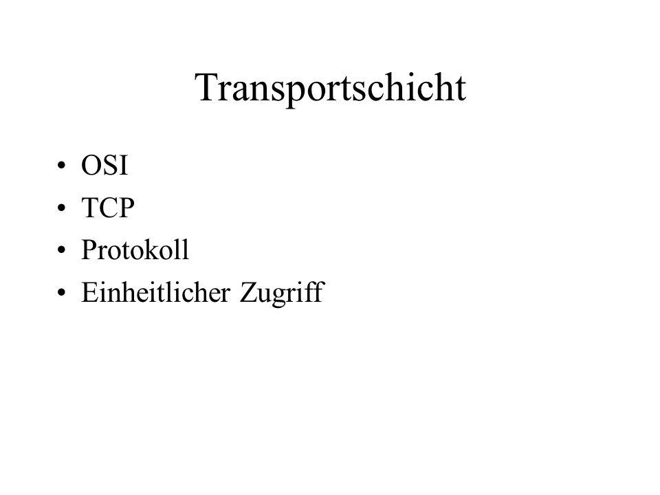 Transportschicht OSI TCP Protokoll Einheitlicher Zugriff