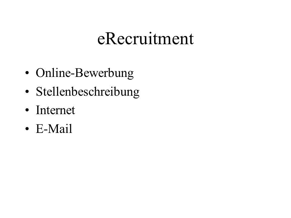 eRecruitment Online-Bewerbung Stellenbeschreibung Internet E-Mail