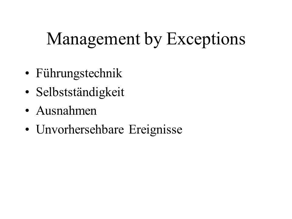 Management by Exceptions Führungstechnik Selbstständigkeit Ausnahmen Unvorhersehbare Ereignisse