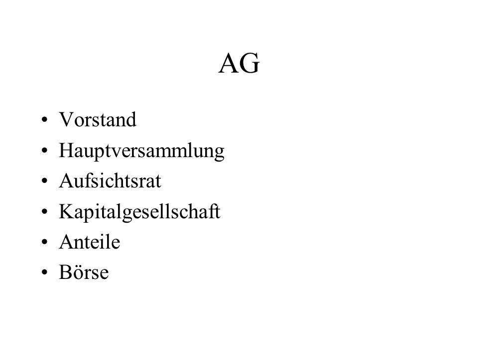 AG Vorstand Hauptversammlung Aufsichtsrat Kapitalgesellschaft Anteile Börse