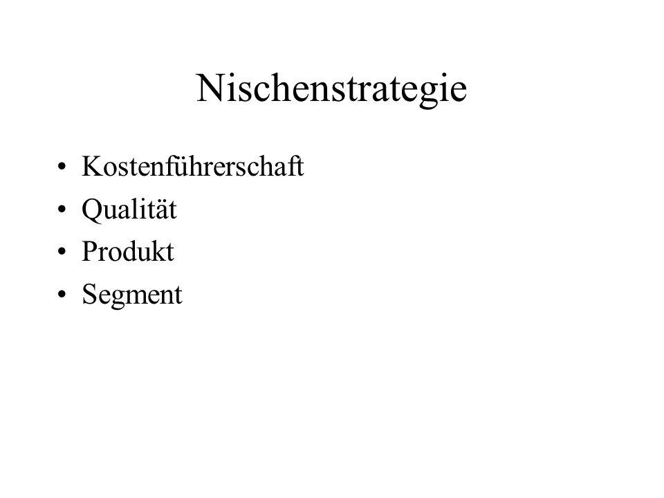 Nischenstrategie Kostenführerschaft Qualität Produkt Segment