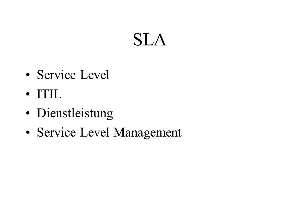 SLA Service Level ITIL Dienstleistung Service Level Management