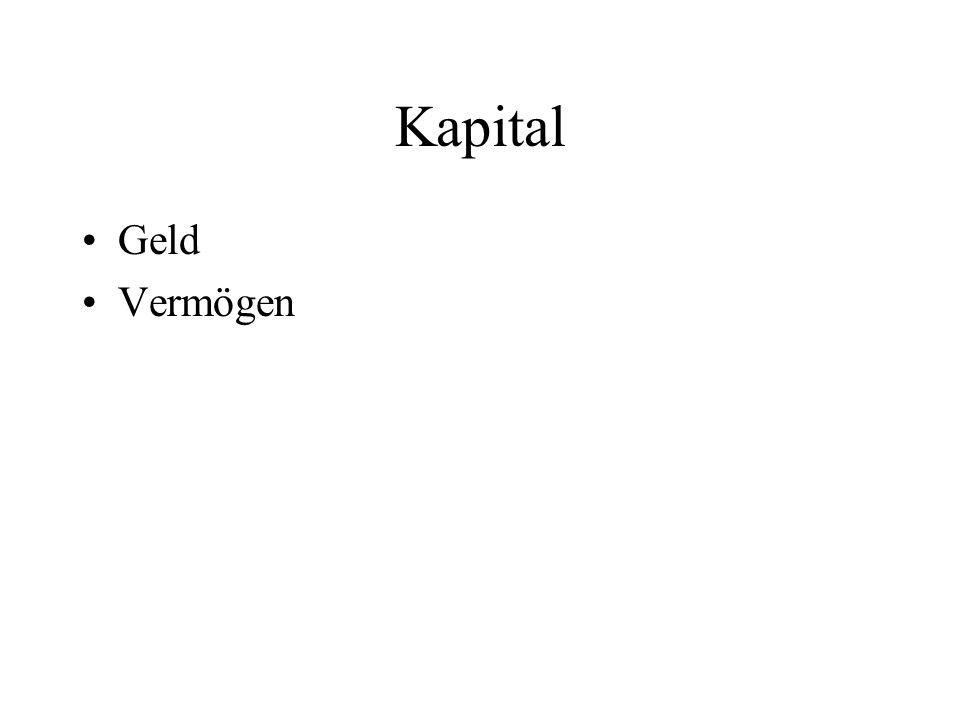 Kapital Geld Vermögen
