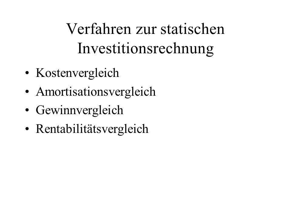Verfahren zur statischen Investitionsrechnung Kostenvergleich Amortisationsvergleich Gewinnvergleich Rentabilitätsvergleich