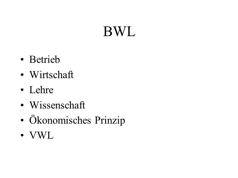 BWL Betrieb Wirtschaft Lehre Wissenschaft Ökonomisches Prinzip VWL
