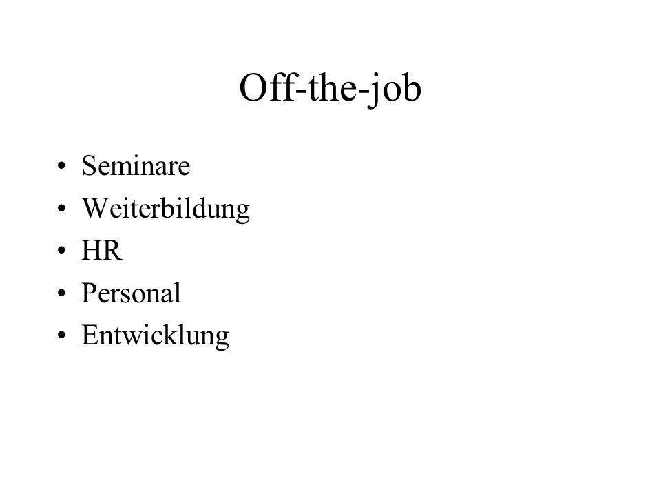 Off-the-job Seminare Weiterbildung HR Personal Entwicklung