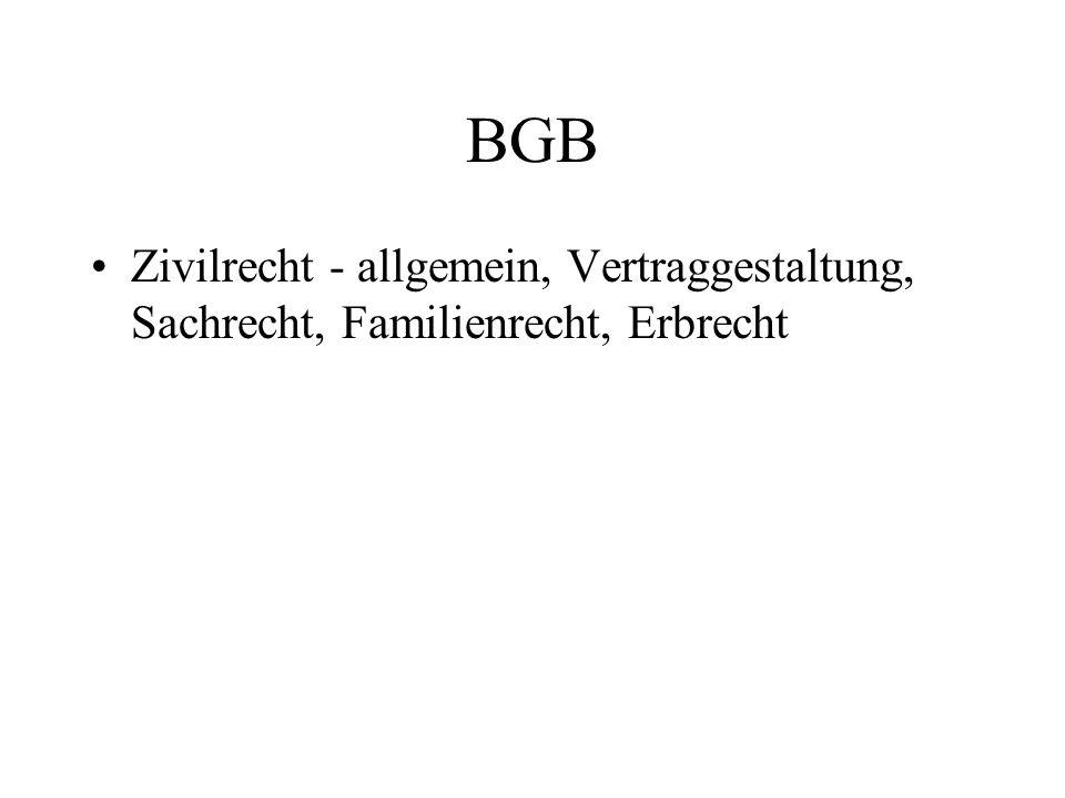 BGB Zivilrecht - allgemein, Vertraggestaltung, Sachrecht, Familienrecht, Erbrecht