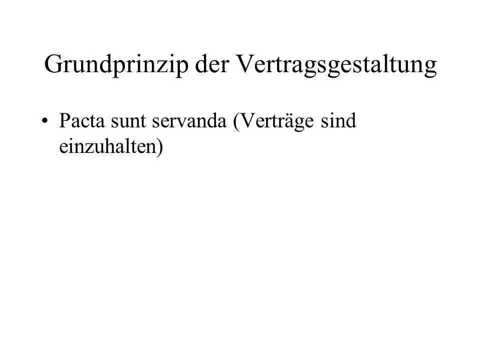 Grundprinzip der Vertragsgestaltung Pacta sunt servanda (Verträge sind einzuhalten)