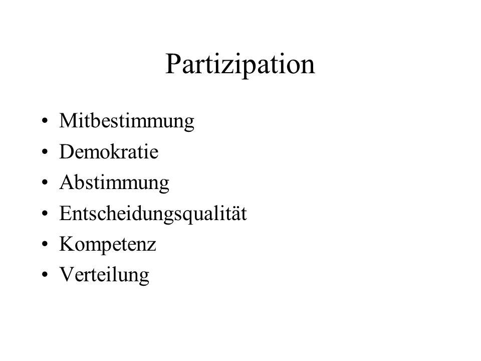 Partizipation Mitbestimmung Demokratie Abstimmung Entscheidungsqualität Kompetenz Verteilung