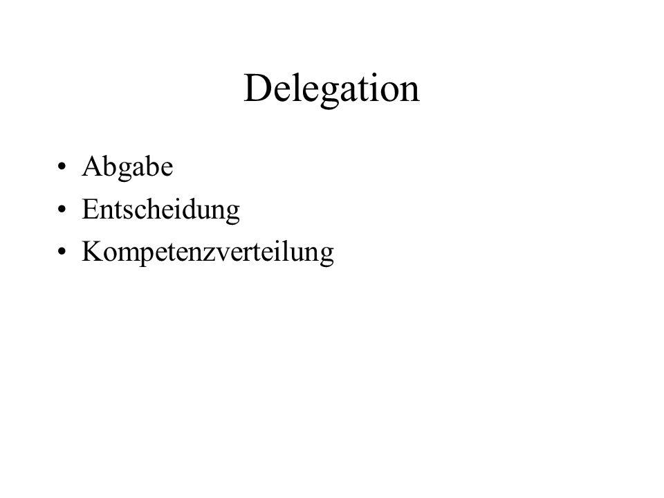 Delegation Abgabe Entscheidung Kompetenzverteilung