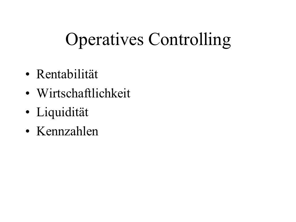 Operatives Controlling Rentabilität Wirtschaftlichkeit Liquidität Kennzahlen