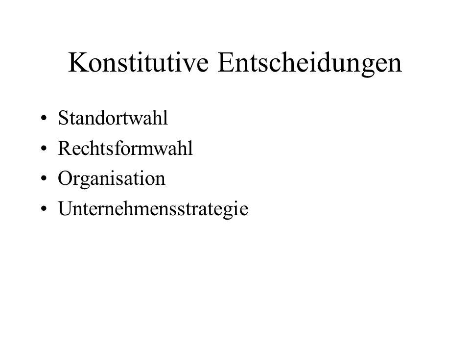 Konstitutive Entscheidungen Standortwahl Rechtsformwahl Organisation Unternehmensstrategie