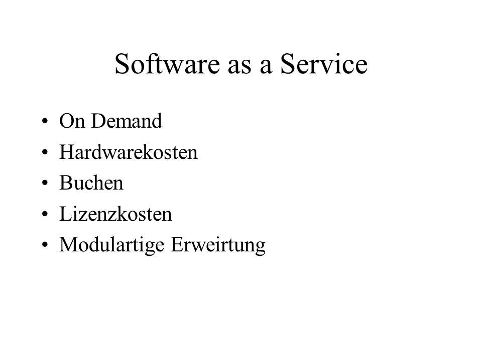 Software as a Service On Demand Hardwarekosten Buchen Lizenzkosten Modulartige Erweirtung