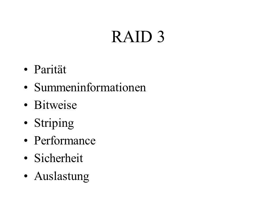 RAID 3 Parität Summeninformationen Bitweise Striping Performance Sicherheit Auslastung