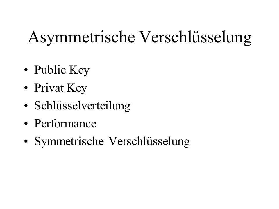 Asymmetrische Verschlüsselung Public Key Privat Key Schlüsselverteilung Performance Symmetrische Verschlüsselung