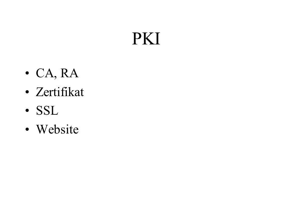 PKI CA, RA Zertifikat SSL Website