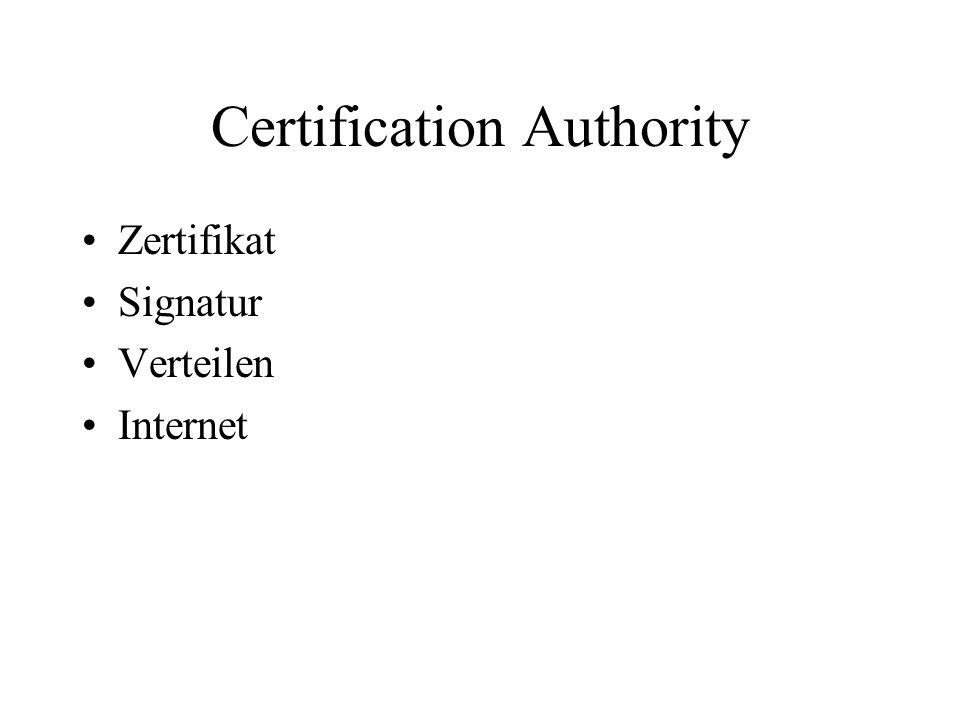 Certification Authority Zertifikat Signatur Verteilen Internet