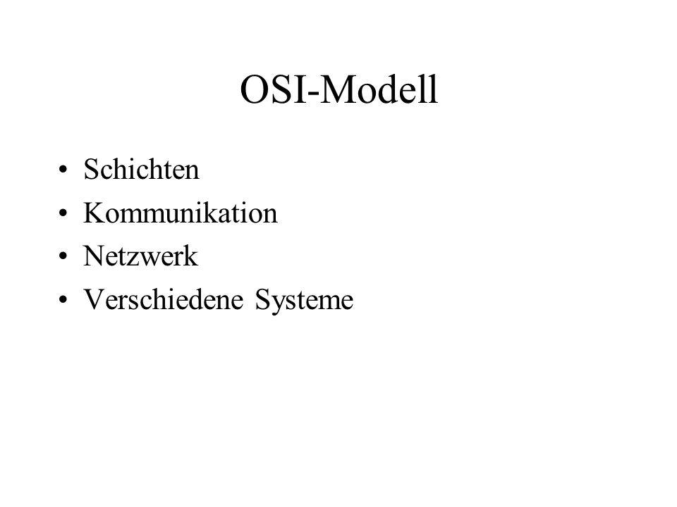 OSI-Modell Schichten Kommunikation Netzwerk Verschiedene Systeme