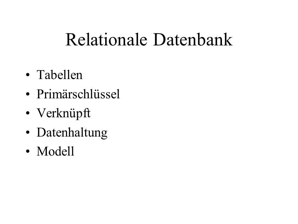 Relationale Datenbank Tabellen Primärschlüssel Verknüpft Datenhaltung Modell