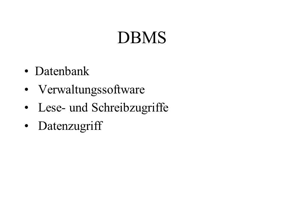 DBMS Datenbank Verwaltungssoftware Lese- und Schreibzugriffe Datenzugriff