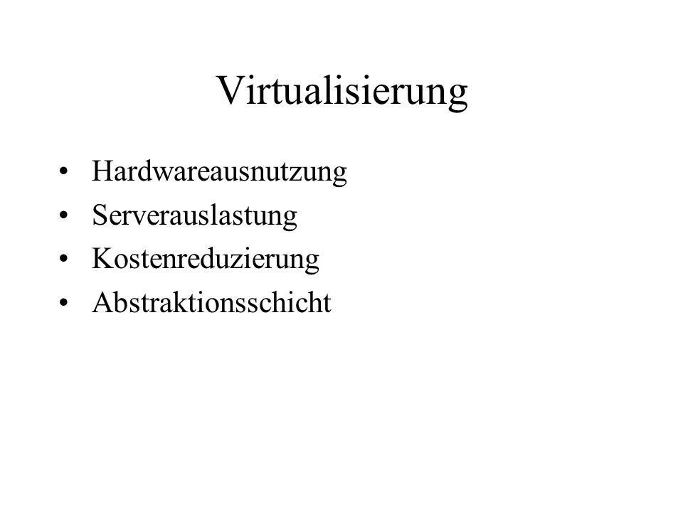 Virtualisierung Hardwareausnutzung Serverauslastung Kostenreduzierung Abstraktionsschicht