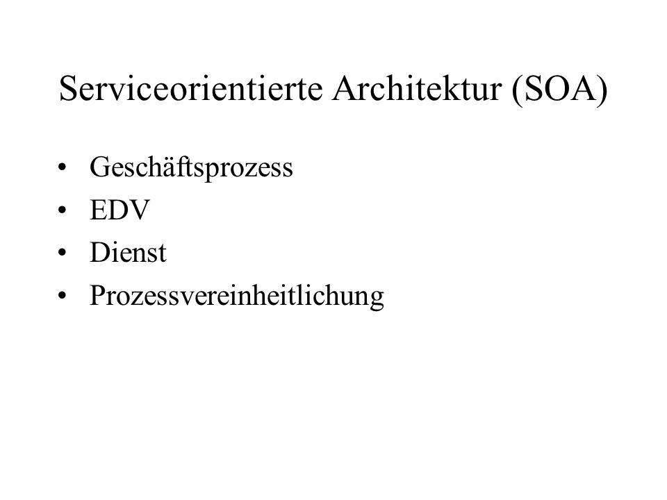 Serviceorientierte Architektur (SOA) Geschäftsprozess EDV Dienst Prozessvereinheitlichung