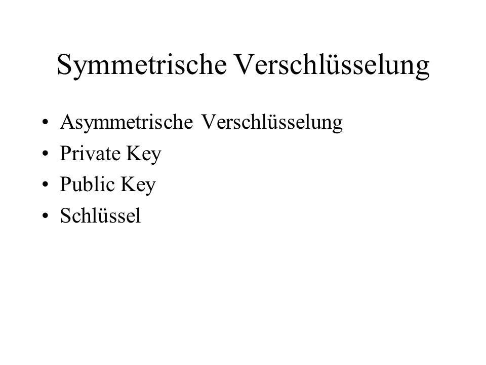 Symmetrische Verschlüsselung Asymmetrische Verschlüsselung Private Key Public Key Schlüssel