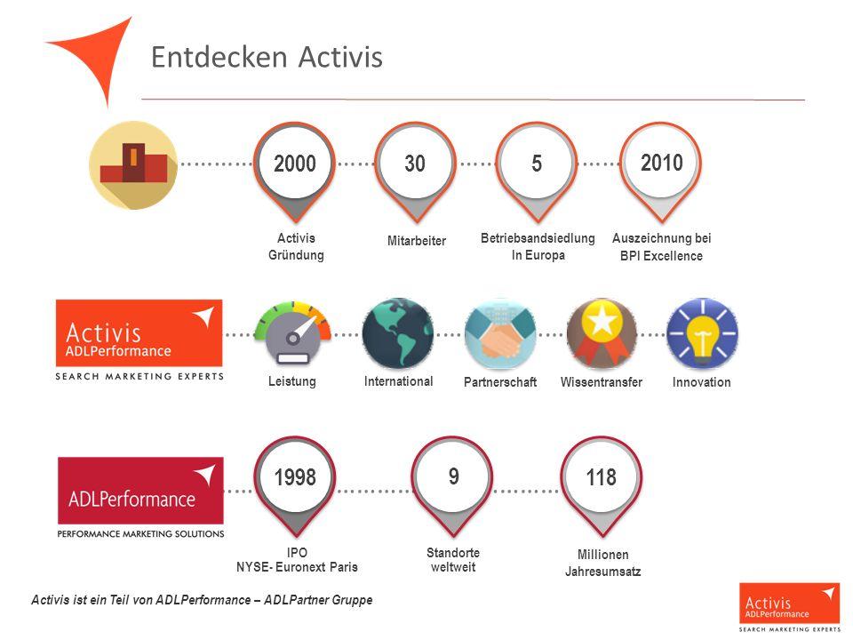 Entdecken Activis …………………………………………………………………… Activis Gründung Mitarbeiter Betriebsandsiedlung In Europa Auszeichnung bei BPI Excellence 2000 305 2010 ………………………………………………………………………………… International Leistung Partnerschaft WissentransferInnovation ……………………………………………………………………… Standorte weltweit Millionen Jahresumsatz IPO NYSE- Euronext Paris 1998 9 9 Activis ist ein Teil von ADLPerformance – ADLPartner Gruppe 2010 118