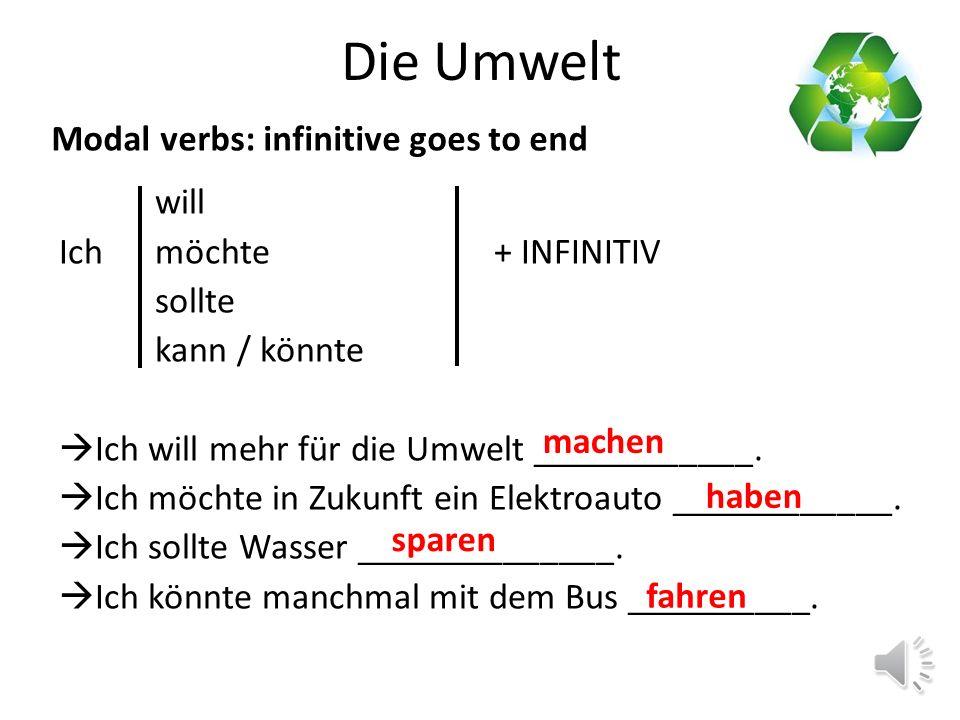 Die Umwelt: verbs with zu