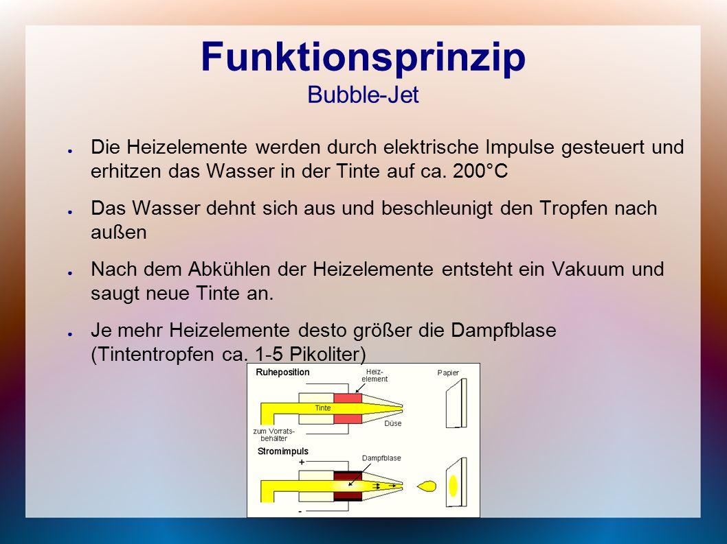 Funktionsprinzip Bubble-Jet ● Die Heizelemente werden durch elektrische Impulse gesteuert und erhitzen das Wasser in der Tinte auf ca.