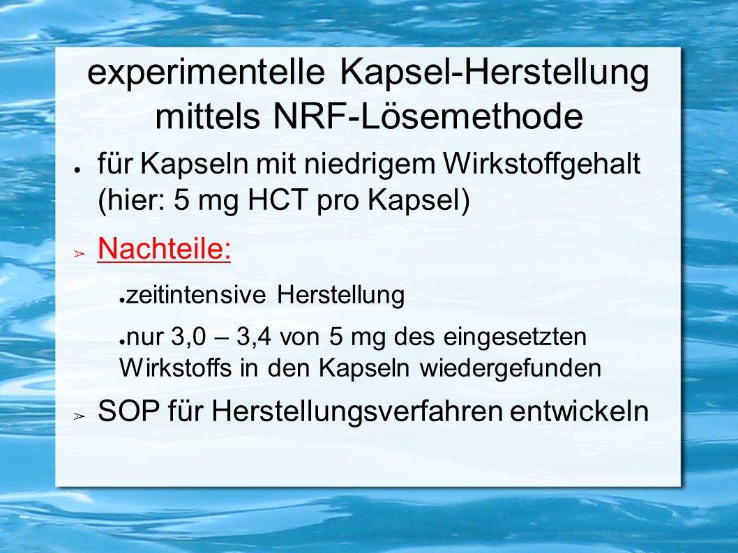 experimentelle Kapsel-Herstellung mittels NRF-Lösemethode ● für Kapseln mit niedrigem Wirkstoffgehalt (hier: 5 mg HCT pro Kapsel) ➢ Nachteile: ● zeitintensive Herstellung ● nur 3,0 – 3,4 von 5 mg des eingesetzten Wirkstoffs in den Kapseln wiedergefunden ➢ SOP für Herstellungsverfahren entwickeln